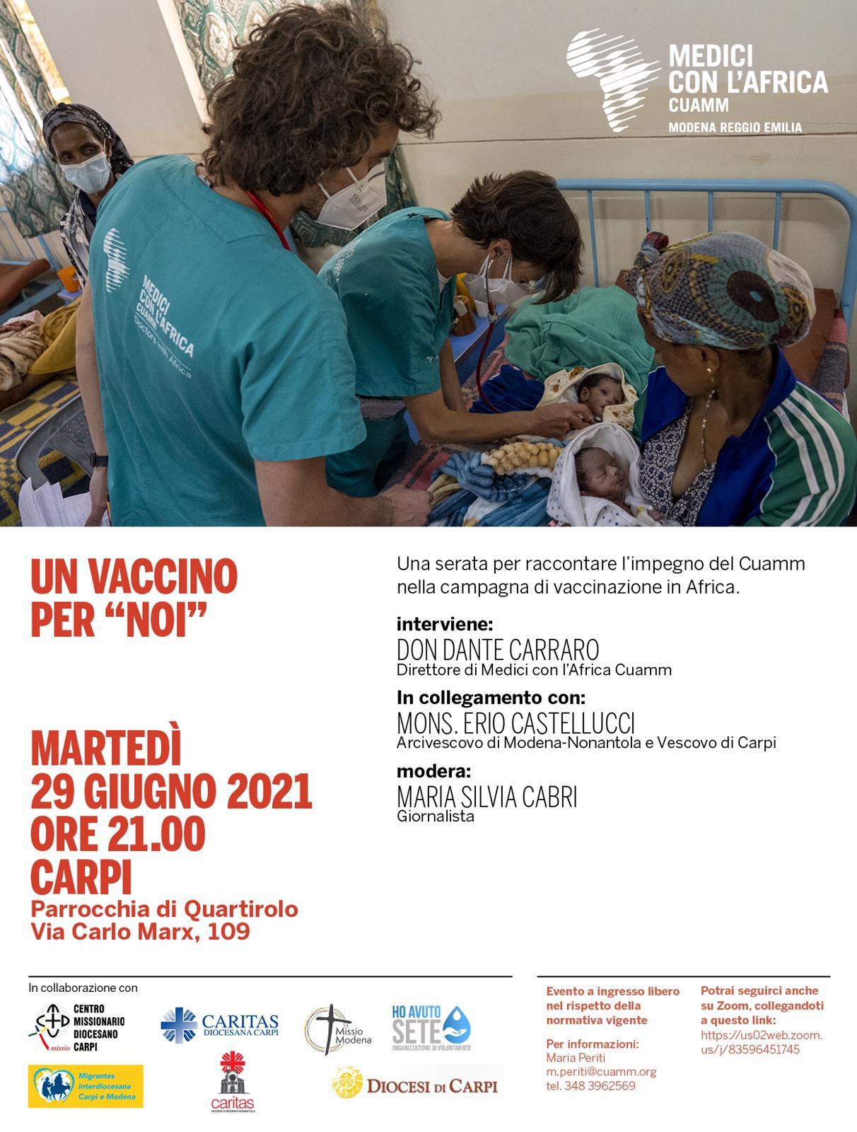 Serata con Medici con l'Africa Cuamm a Quartirolo